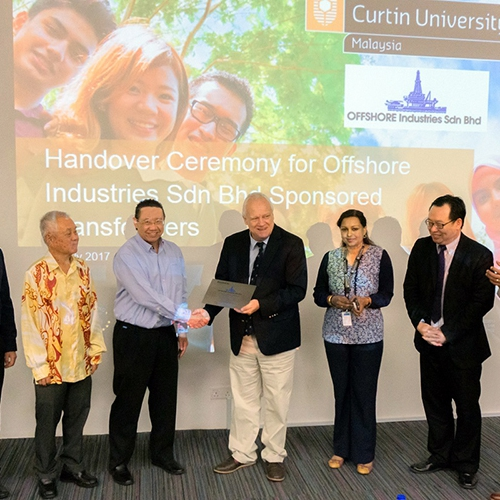Curtin Malaysia receives transformers from Offshore Industries Sdn Bhd for research and teaching